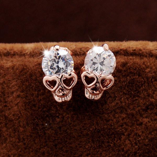 Cute Heart Eyes Earrings for Women Girl Small Rose Gold Color Trendy Crystal Stud Earrings Gift