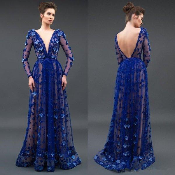Großhandel 2018 Royal Blue Long Sleeve Brautkleider Tiefem V ...