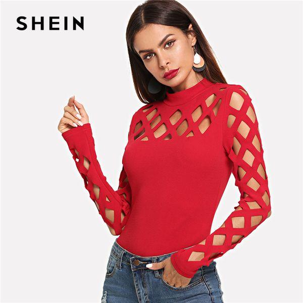 SHEIN Red Party Sexy Streetwear Workwear Square Cutout Hombro Ajustado Cuello alto Skinny Tee Otoño Mujer EleT-shirt Top
