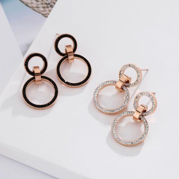 2018 Nuovo temperamento moda selvaggia tondo piccolo orecchini rotondi cristallo femminile da austriaco 2 colori per le donne