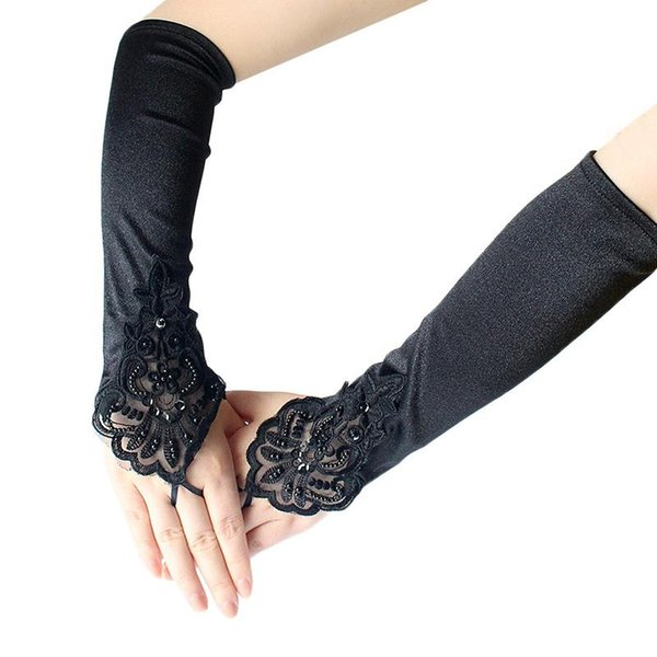 Hot Sale Women's Elbow Length Gloves Sexy Black Long Satin Fingerless Gloves for Ladies Girls Hand Club Party Accessories