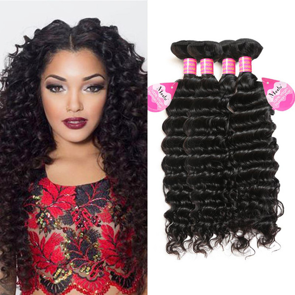 Wholesale Cheap 8A Unprocessed Brazilian Deep Wave Hair Extensions 4 Bundles Peruvian Indian Malaysian Hair Extensions Dyeable Natural Color