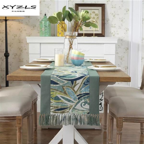 XYZLS Coton Polyester Chemin de Table Pastorale Imprimé Nappe avec Glands Table À Manger Drapeau pour la Décoration De Fête De Mariage 1 PC