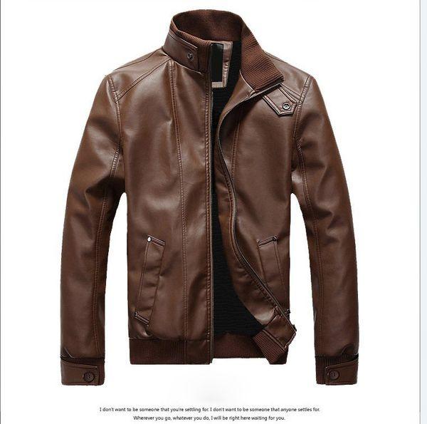 best selling Men's New Arrive Brand Outerwear Motorcycle Leather Jacket Men, Jaqueta De Couro Masculina Mens Leather Windbreaker Jackets Coats