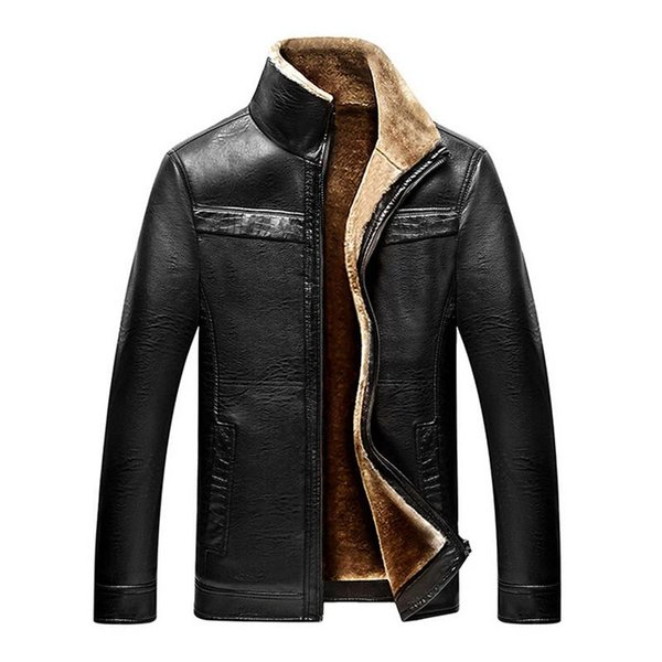 Wholesale- Jacket men casual winter thicken warm leather jackets male parka mens jackets and coats winter down coat plus size 4XL