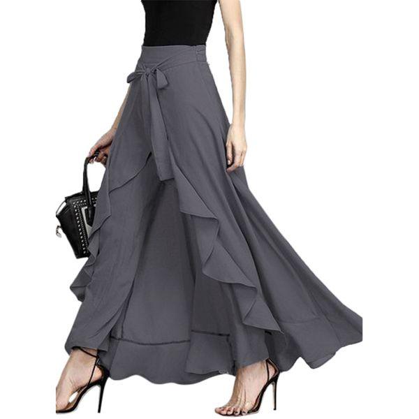 Wrap Skirts for Women 2019 New Casual Fashion Navy Chiffon Long Skirt Pants Tie-Waist Ruffle Wide Leg Loose Pants Black Grey