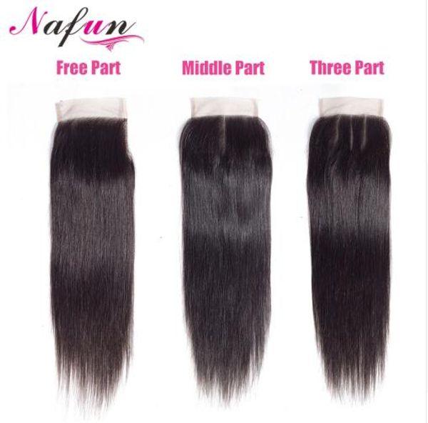 Haar Malaysian Straight 4 * 4 Lace Closure Middle / Free / dreiteilige natürliche Farbe Non Remy Human Hair Closure 8 bis 20 Zoll