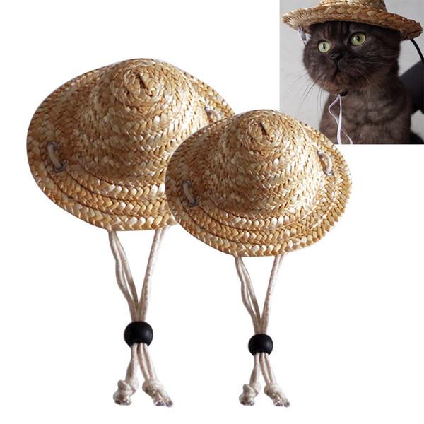 Ayarlanabilir Pet Kedi Yavru Köpek Hasır Şapka Güneş Kapaklar Yavru Malzemeleri Pet Aksesuarları Halat boncuk Rastgele Renk