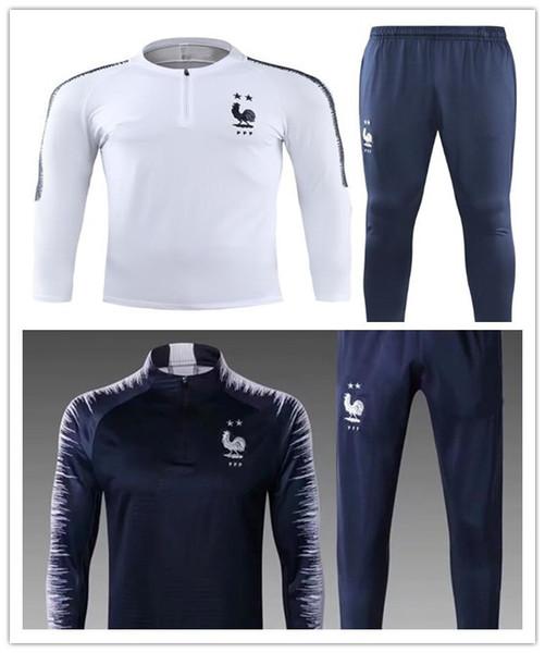 2018 2 yıldız Fransız occer Eşofman GRIEZMANN MBAPPE Eşofman takımı ceket 18 19 GRIEZMANN chandal eğitim takım elbise spor giyim