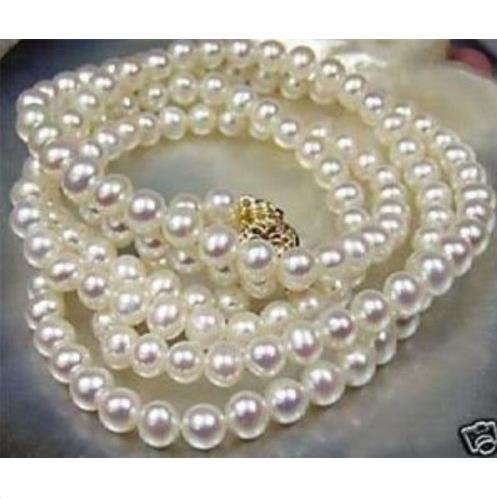 "36"" Genuine 8-9mm White South Sea Pearl Necklace 14K Yellow Gold Clasp"