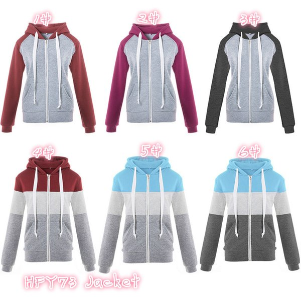 Cheap Fleece/woolen Sweater Zipper Cotton Blended Splice Color Stitching Women Colorful Hoodies With Rope S-3XL DHL 20set/lot HFY73