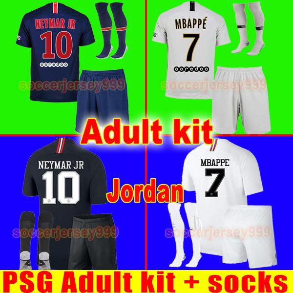TOP PSG soccer jersey Adult kit 2019 Paris third AIR JR MBAPPE CAVANI saint germain jerseys 18 19 football shirt uniforms maillot