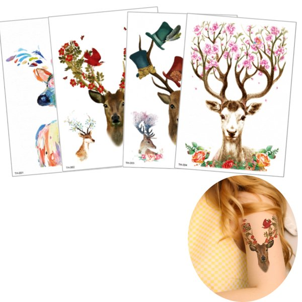 14.8x21cm Colorful Beauty Temporary Waterproof Body Art Tattoo Sticker Fake Deer Flower Bird Design for Women Men Beach Party Tattoo Sticker