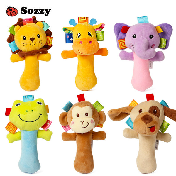 Sozzy Lovely Plush Stuffed Animal Baby Rattle Squeaky Sticks Toys Hand Bells for Children Newborn Gift Comfort 6 Styles Elephant