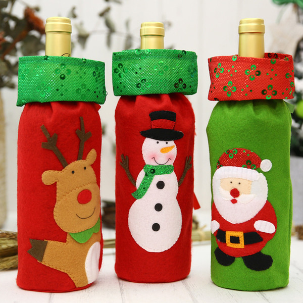 Christmas Decoration Santa Snowman Deer Wine Bottle Bags Gifts Champagne Sequins Holder Xmas Home Dinner Party Hotel Table Decor
