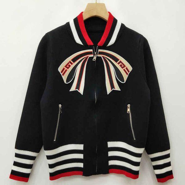 Bestickter Bogen Frauen Marke Pullover Jacken Designer Halbhohe Kragen Reißverschluss Pullover Damen Strick Strickjacke Mantel Damenbekleidung
