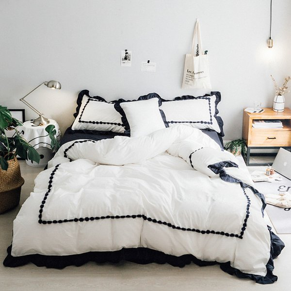 85bbc48dd38 Princess Frill Bedding Set Lace Washed Cotton Girls Bed Solid Color Luxury Bedding  Duvet Cover Set