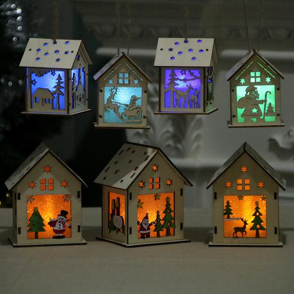 Festival LED Light Wood House Christmas gifts Tree Hanging Ornaments Holiday Nice Xmas Gift Wedding Decoration kids toys