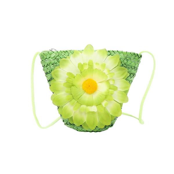 New Kids Mini Grass Weaving Floral Handbag Zipper Bag Children Shoulder Bag Tote Girls Purse Lovely Birthday Gift Messenger