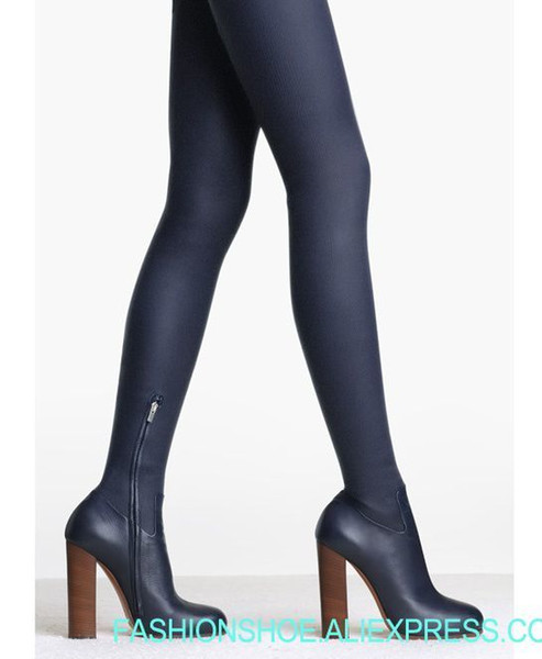 2018 Hot Stretch Leather Women Round Toe Over The Knee Boots Super High Heel Knight Boots Ladies Sexy Thigh Blue Leather