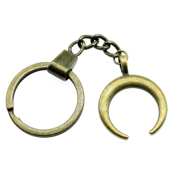 6 pieces key chain women key rings car keychain for keys horns crescent moon 33x26mm