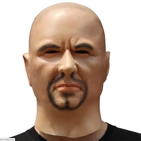 Hombre artificial Máscara de látex Capucha Overhead Pelucas barba Disfraz de piel humana Broma Disfraz de maquillaje de Halloween Silicona realista