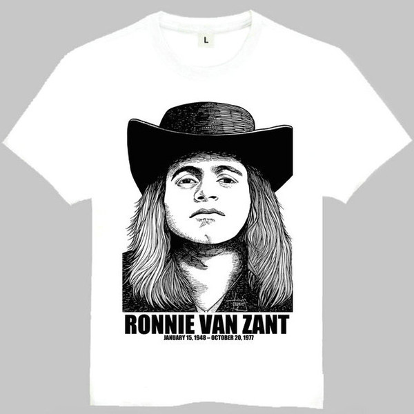 Ronnie van zant t shirt Southern rock short sleeve gown Classic star tees Leisure clothing Quality cotton fabric Tshirt