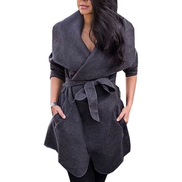 winter windbreaker large size women overcoat casual tun-down collar bow trench europe american big size female outerwear j580