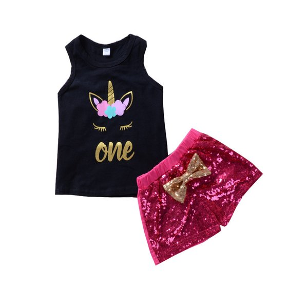Girls Summer 2pcs Outfits Children Unicorn Letter Printed Set Vest + Sequin shorts with Bow 2colors 5size