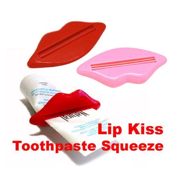 1000 unids caliente nueva pasta de dientes tubo exprimidor sexy caliente labio beso baño tubo exprimidor dispensador de crema exprimidor de color al azar 93 x 42 mm