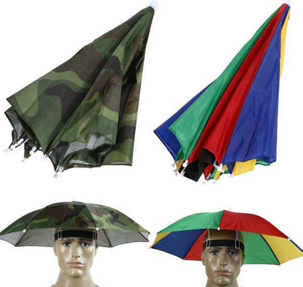 Foldable Umbrella Hat Cap Headwear Umbrella for Fishing Hiking Beach Camping Cap Head Hats Outdoor Sports Rain Gear
