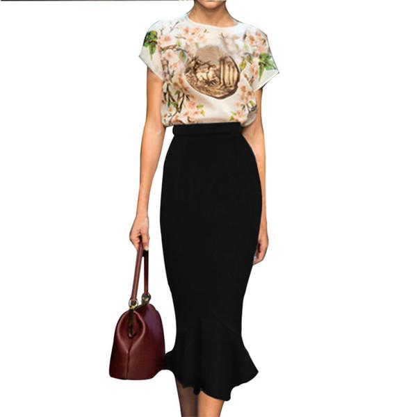 Aamikast Women Fashion Sheath Mermaid Skirt Ruffles Hem Bodycon Skirts Ladies Party Pack Skirt Business Wear Clothing