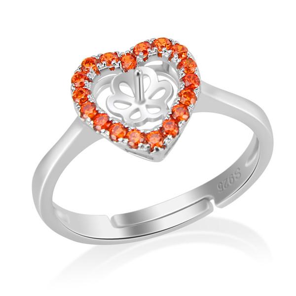 Rot Romantische Herzform Perle Ring Montage 925 Silber Ring Einstellung Ring Blank Für DIY Perle
