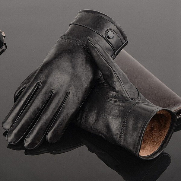 NEW Leather winter gloves for men guantes warm sheepskin Gloves men Leather gloves simple prevent cold