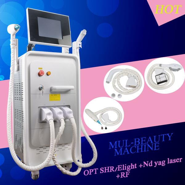 4 in 1 Muitifunctional beauty equipment Nd Yag laser tattoo removal backdoll treatment SHR hair removal machine rf Skin Tightening machine