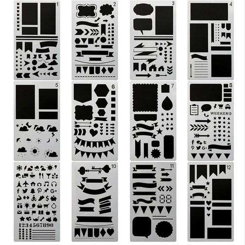 2019 Bullet Journal Stencil Set,DIY Painting Drawing Spraying Templates For  Notebook Diary Scrapbook Planner Schedule Craft Projects From Hielife,