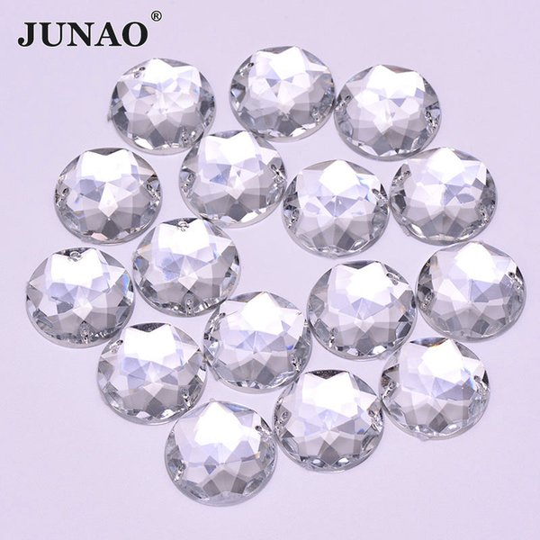 JUNAO 20mm Big Size Sewing Clear White Crystals Flat Back Rhinestones Acrylic Gems Round AB Crystal Strass Sew On Stones for DIY