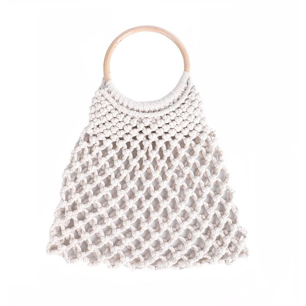 Hollow Net straw bag cotton hand-woven round wood ring rattan portable female 2018 summer straw bag new Beach