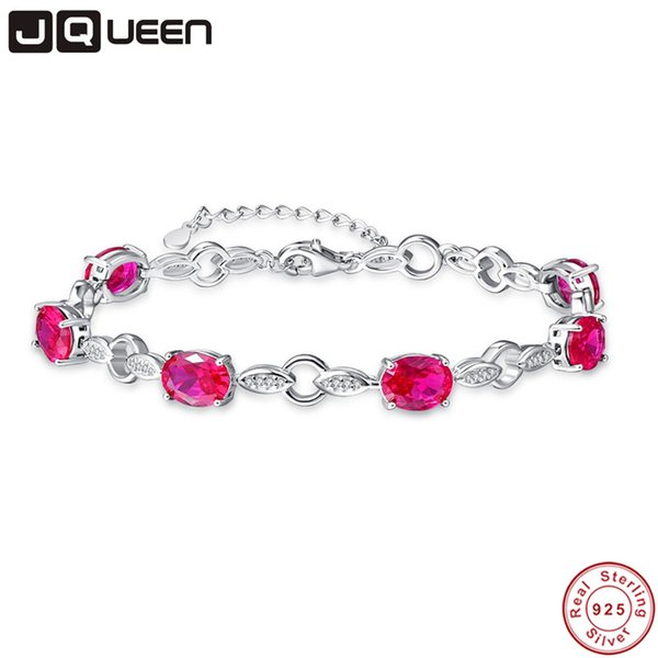 JQUEEN 925 Sterling Silver Pulsera para Mujeres con 6 Creado Ruby Genuine 925 Silver Leaf Leaf Charm Bracelets Party Jewelry