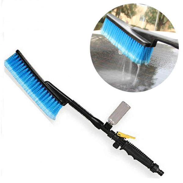 top popular 2018 Durable Car Wash Brush Auto Exterior Retractable Long Handle Water Flow Switch Foam Bottle Car Cleaning Brush 2021