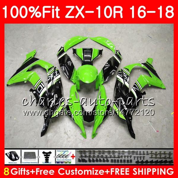 Inyección Para KAWASAKI Verde negro NINJA ZX 10 R 1000 ZX 10R ZX10R 16 17 18 99HM.2 ZX1000 1000CC Hot Green ZX-10R 2016 2017 2018 Carenados