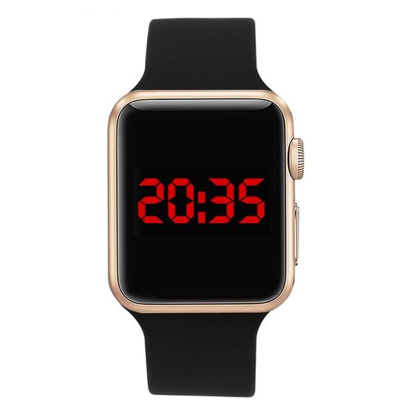 Relojes Dijital Bilek İzle Spor Saat Saatler Yüksek Kalite Kare Ayna Yüz Silikon Band Dijital İzle Siyah LED Saatler