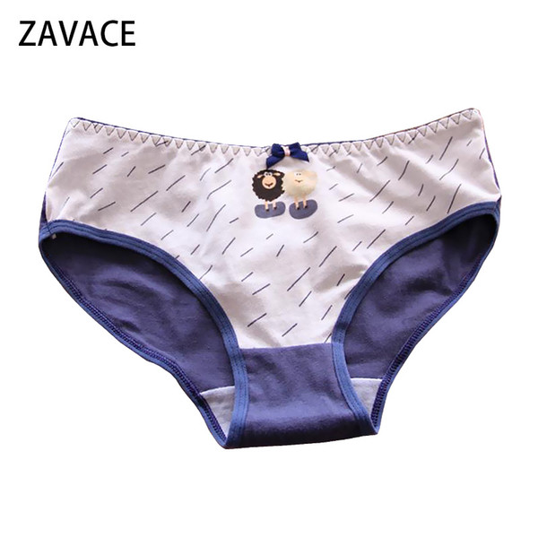 ZAVACE 3pcs/lot New cotton underwear women Goat printed bow cute cotton underwear sexy briefs women panties
