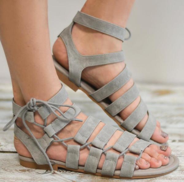 top popular 2018 New Summer Women's Sandals Kid Suede Sandals Female Size Ankle Strap Sandals Open Toe Casual Sandalia Feminina 34-43 2019