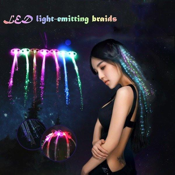 LED Light-Up Hairpin Luminous Braid Fiber Optic Flashing Hair Rave Party Optic Wire Hairpin Braids Hair Clip for Christmas Halloween FFA746