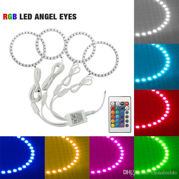 LEEWA 4Pcs Car RGB Multi-Color LED Angel Eyes Halo Ring Lighting Kit For Hyundai Tiburon/Sonata/I30 Headlight #3245