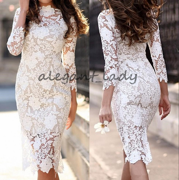 2018 New Vintage Lace Knee Length Sheath Fitted prom dresses With 3/4 Sleeves Sheer Sleeves Reception Outdoor occasion evening gowns wear