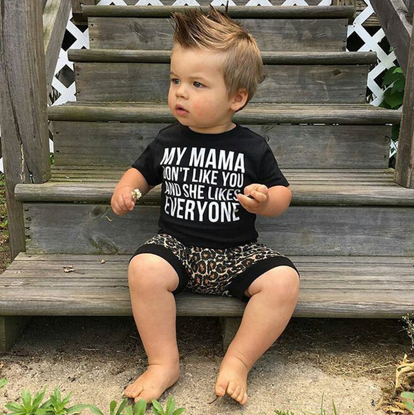 Toddler Baby Boys Clothing Cotton Fashion Short Sleeve T-shirt + Leopard Print Shorts Pants Two Piece Clothing Sets For Baby Kids