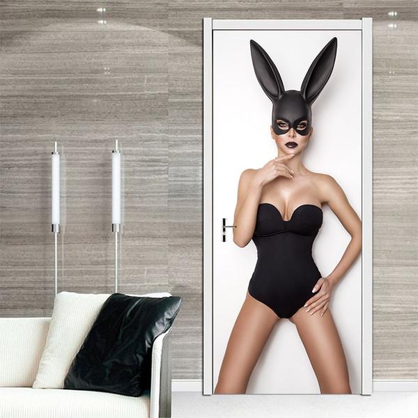 Creative Black Sexy Bunny Girl Door Stickers Home Decoration Mural PVC Self-adhesive Waterproof Modern Bedroom Art Vinyl Decal Living Room