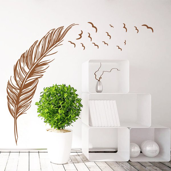 Wholesale 3 Colors Feather Wall Stickers Wallpaper Wall Picture Art Room Home Decor Kitchen Accessories Household Crafts Suppllies